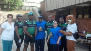 County Executive Rushern Baker with Maryland Park Bicycles cyclists, Safety Bear and Christine Arthur-Gilliard and Amy Wiley.