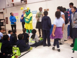 The Kaiser Permanente Super Weevil taught students about pedestrian safety through an interactive game.