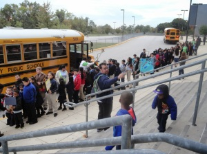 Rogers Heights Elementary School is 100% bused so students were dropped off down the street at the high school.