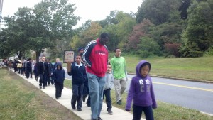 And we are off! Students walk to school with Bladensburg Mayor Walter Lee James, Jr.